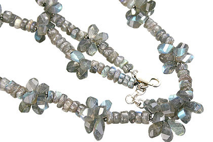 Blue Labradorite Beaded Necklaces 17 Inches
