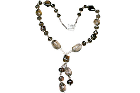 Brown Smoky Quartz Beaded Contemporary Necklaces 18 Inches