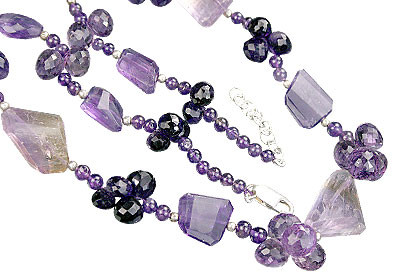 Purple Amethyst Beaded Briolettes Necklaces 18 Inches
