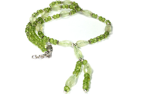 Green Prehnite Peridot Beaded Necklaces 17 Inches