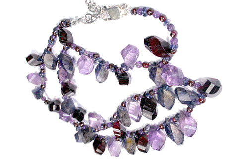 Blue Purple Red Garnet Iolite Bali Silver Beaded Necklaces 2 Inches