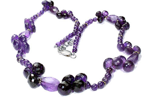 Purple Amethyst Bali Silver Beaded Necklaces 18 Inches