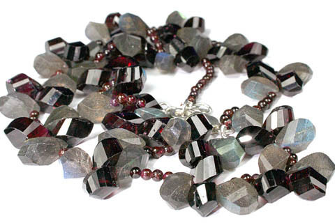 Gray Red Labradorite Garnet Bali Silver Beaded Necklaces 18 Inches