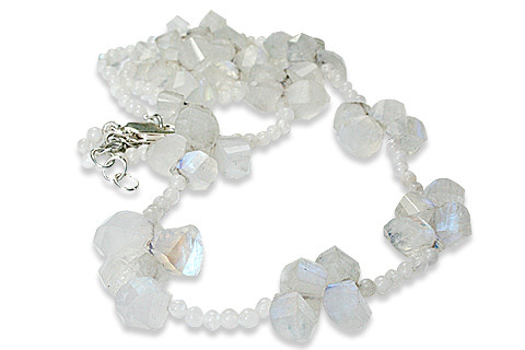 White Moonstone Beaded Necklaces 18 Inches