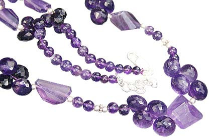 Purple Amethyst Beaded Necklaces 18 Inches