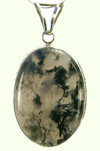 Green White Moss Agate Silver Setting Pendants 1.5 Inches