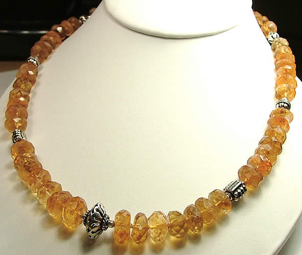Yellow Citrine Beaded Necklaces 17 Inches