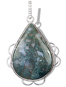 Green White Moss Agate Silver Setting Drop Pendants 1.75 Inches