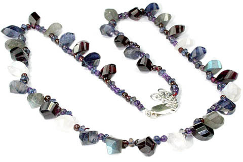 Blue White Multi-stone Iolite Beaded Necklaces 17 Inches