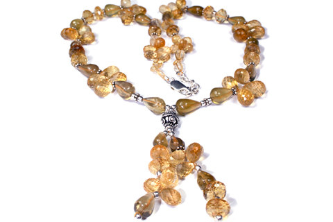Yellow Citrine Bali Silver Beaded Necklaces 18 Inches