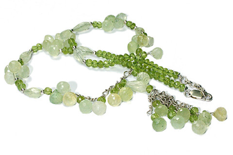 Green Prehnite Peridot Bali Silver Beaded Necklaces 18 Inches