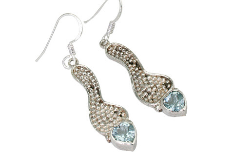 Blue Blue Topaz Silver Setting Heart Earrings 1.25 Inches
