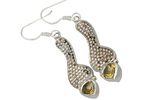 Yellow Citrine Silver Setting Earrings 1.25 Inches
