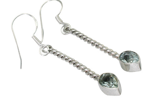 Two Stone Faceted Blue Topaz Dangling Earrings