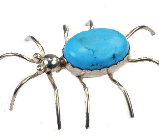 Blue Turquoise Silver Setting Insect Brooches 2.5 Inches
