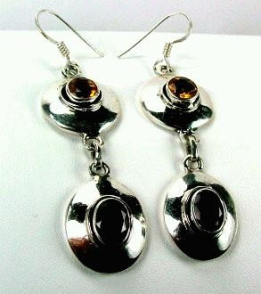Red Yellow Citrine Garnet Silver Setting Earrings 1.25 Inches