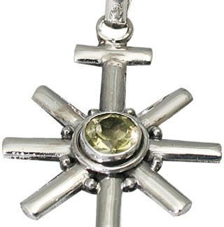 Yellow Lemon Quartz Silver Setting Star Sun Pendants 1.5 Inches