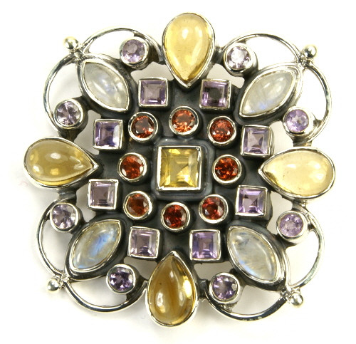 Multi-color Multi-stone Moonstone Silver Setting Flower Brooches 1.5 Inches
