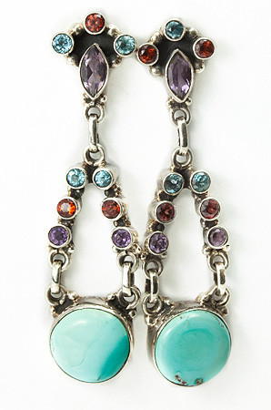 Green Turquoise Multi-stone Silver Setting Earrings 2 Inches