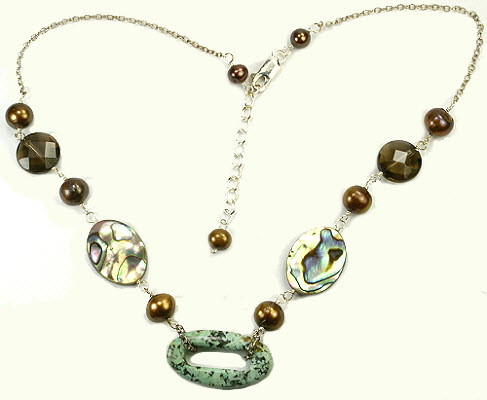 Brown Green Multi-color Abalone Pearl Other Metal Donut Necklaces 17 Inches