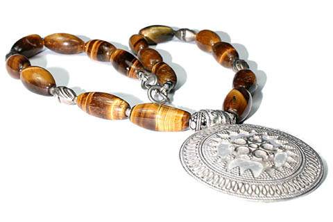 Brown Yellow Tiger Eye Bali Silver Beaded Ethnic Necklaces