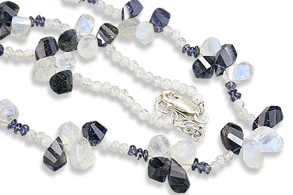 Blue White Moonstone Iolite Beaded Necklaces 18 Inches