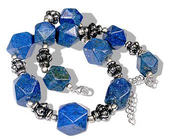Blue Lapis Lazuli Beaded Ethnic Necklaces 15 Inches
