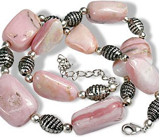 Pink Pink Opal Beaded Chunky Necklaces 16 Inches