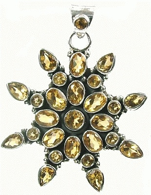 Yellow Citrine Silver Setting Pendants 1.5 Inches