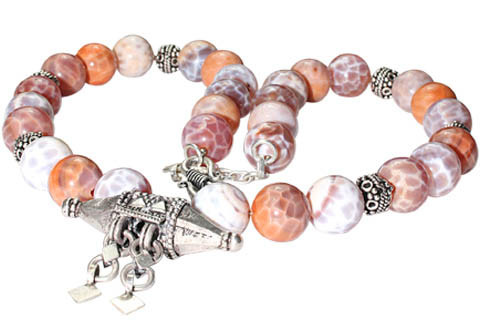 Pink White Agate Beaded Ethnic Necklaces 16 Inches