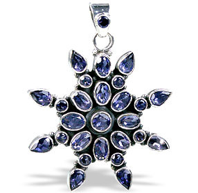 Blue Iolite Silver Setting Flower Pendants 1.5 Inches