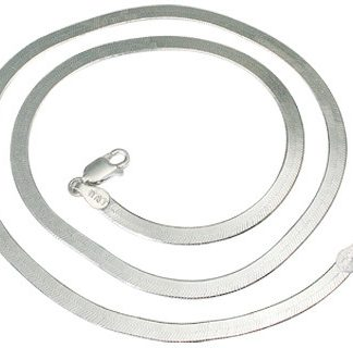 White Silver Silver Setting Herringbone Chains 16.5 Inches