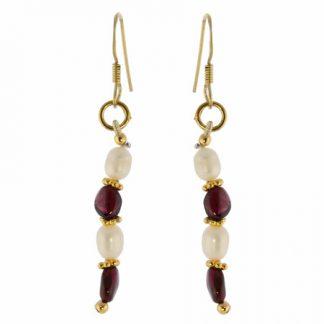 Red White Garnet Pearl Beaded Earrings