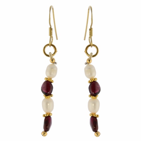 Red White Garnet Pearl Beaded Earrings