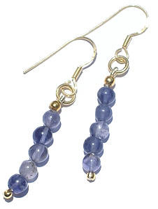 Blue Iolite Beaded Earrings