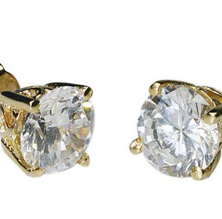 White Cubic Zirconia Vermeil Gold Plated Post Earrings 0.25 Inches