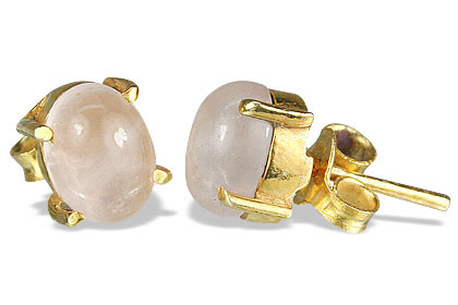 Pink Rose Quartz Vermeil Silver Setting Post Earrings 0.5 Inches