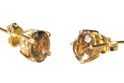 Brown Smoky Quartz Vermeil Gold Polish Post Earrings 0.2 Inches