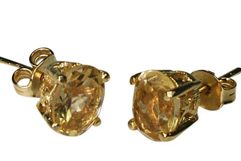 Yellow Citrine Vermeil Gold Polish Post Earrings