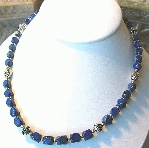 Blue Lapis Lazuli Beaded Tumbled Necklaces 17 Inches