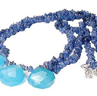 Blue Sapphire Chalcedony Beaded Chipped Necklaces 15 Inches