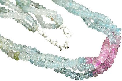 Multi-color Aquamarine Beaded Contemporary Necklaces 15 Inches