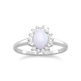 White Topaz and Australian Opal Rhodium Plated Ring