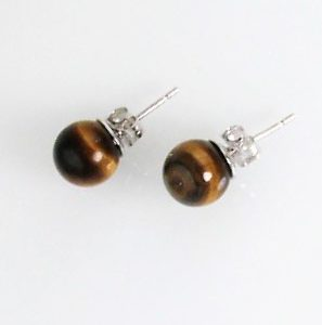 Rhodium Plated Tiger's Eye Stud Earrings