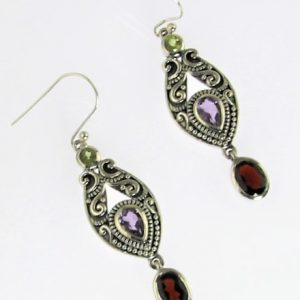 Amethyst, Garnet and Peridot Earrings