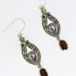 Amethyst, Garnet and Peridot Earrings
