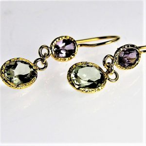 Purple and Green Amethyst 14 Karat Gold Plated Earrings