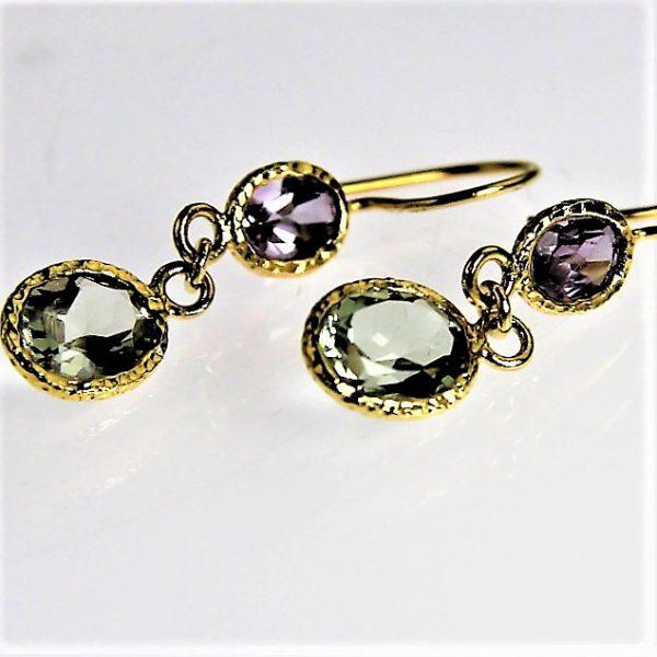 Purple and Green Amethyst 14 Karat Gold Plated Earrings