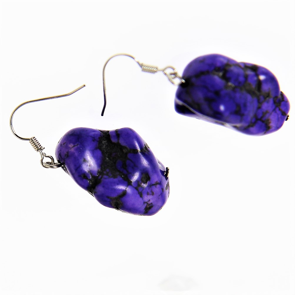 Howlite Purple Stone Earring