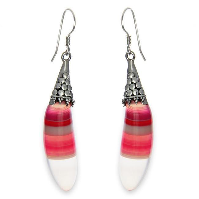 Pink Striped Botswana Agate Earrings